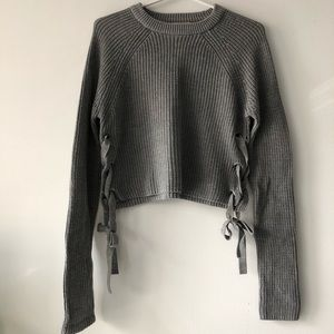 Forever 21 Cropped Grey Tie Side Sweater